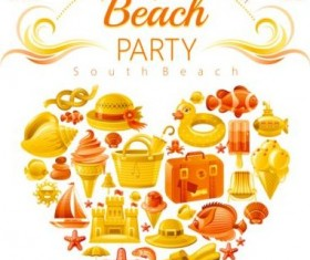 Holiday beach party flyer with heart vector 02