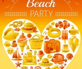 Holiday beach party flyer with heart vector 03