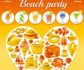 Holiday beach party flyer with heart vector 04