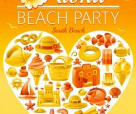 Holiday beach party flyer with heart vector 05