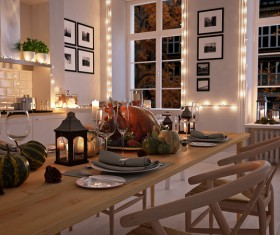 Holiday-dressed white simple kitchen Stock Photo