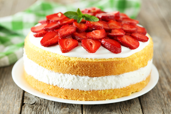 Strawberry Cake Images Free Download : Homemade strawberry cake - Food stock photo free download