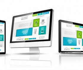 Laptop with monitor and tablet display template vector 03