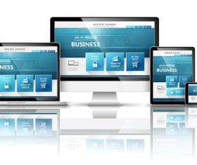 Laptop with monitor and tablet display template vector 05
