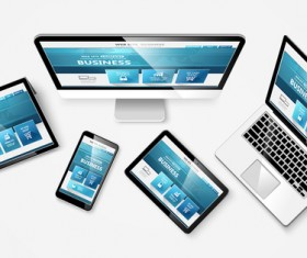 Laptop with monitor and tablet display template vector 06