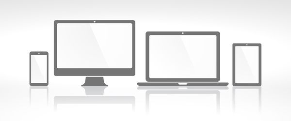 laptop with monitor and tablet prototype vector template 03 free