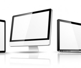 Laptop with monitor and tablet prototype vector template 07