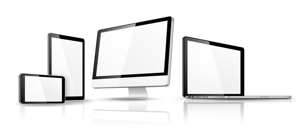 laptop with monitor and tablet prototype vector template 07 free