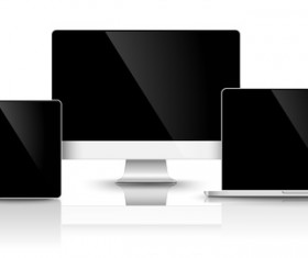 Laptop with monitor and tablet prototype vector template 08
