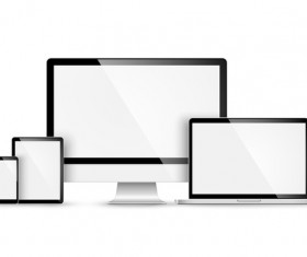 Laptop with monitor and tablet prototype vector template 09