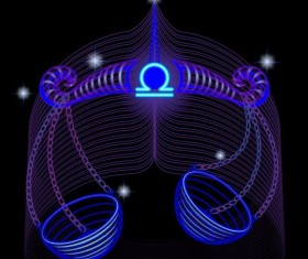 Libra neon sign vector material