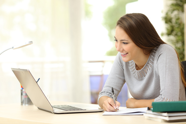 Looking At Laptop Pretty Young Woman Studying Woman Free