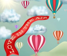 Love banner with hot air balloon vector material 01