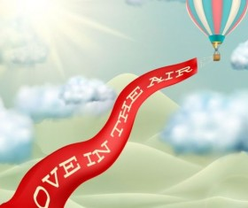 Love banner with hot air balloon vector material 02