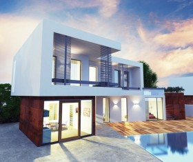Luxurious villa exterior and wonderful magic sky 01 HD picture