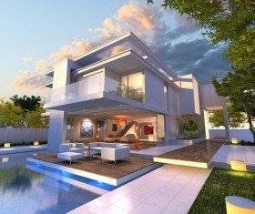 Luxurious villa exterior and wonderful magic sky 03 HD picture
