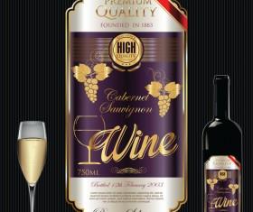Luxury golden wine label design vector 02