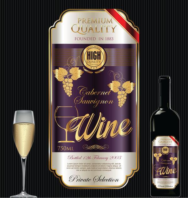 Luxury golden wine label design vector 02 Vector Food Vector