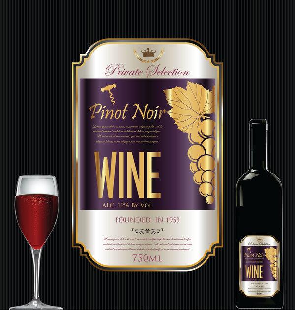 Luxury golden wine label design vector 03 Vector Food Vector
