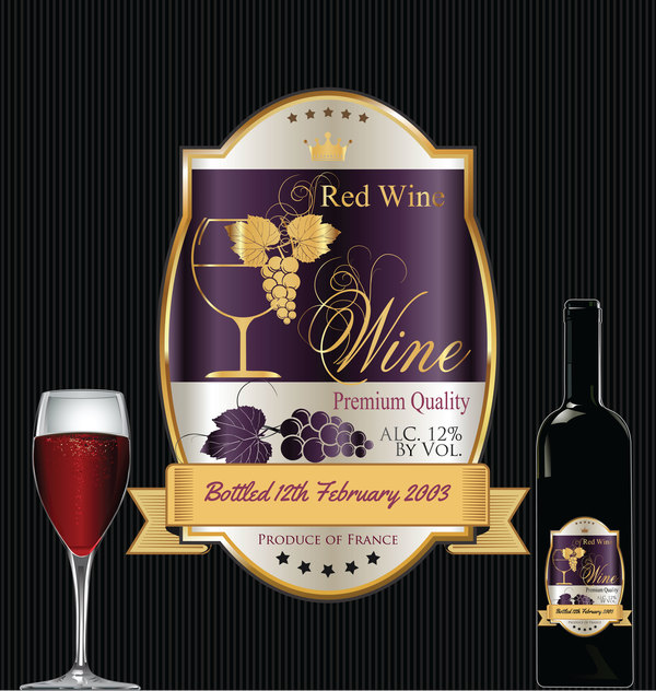 Luxury Golden Wine Label Design Vector 04 Free Download