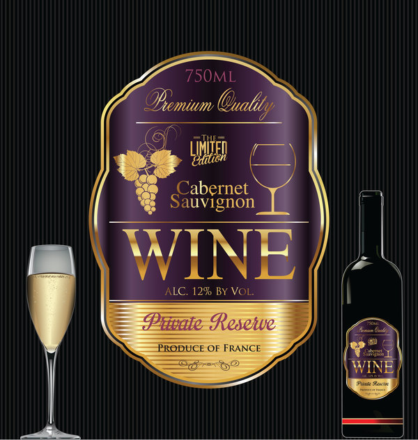 Luxury Golden Wine Label Design Vector 05
