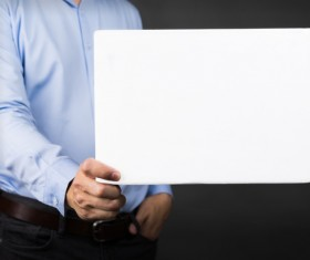Man holding a blank banner HD picture
