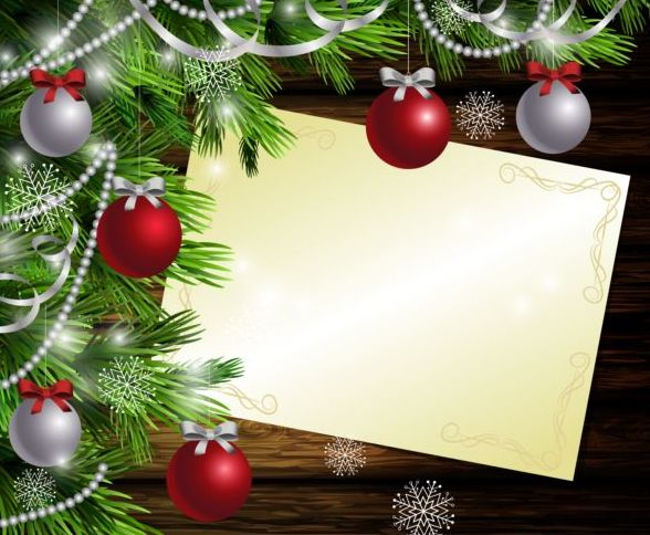 Christmas Card Background.Merry Christmas Greeting Card With Wood Background Vector 16