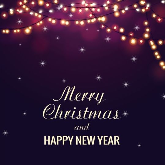 Merry christmas with new year dark background vector 01