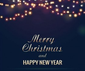 Merry christmas with new year dark background vector 02