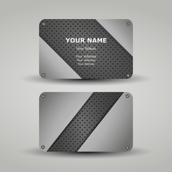 Metal business card template vector 03