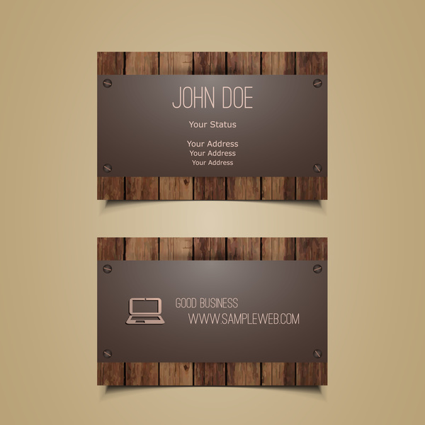 Metal with wooden business card template vector 02