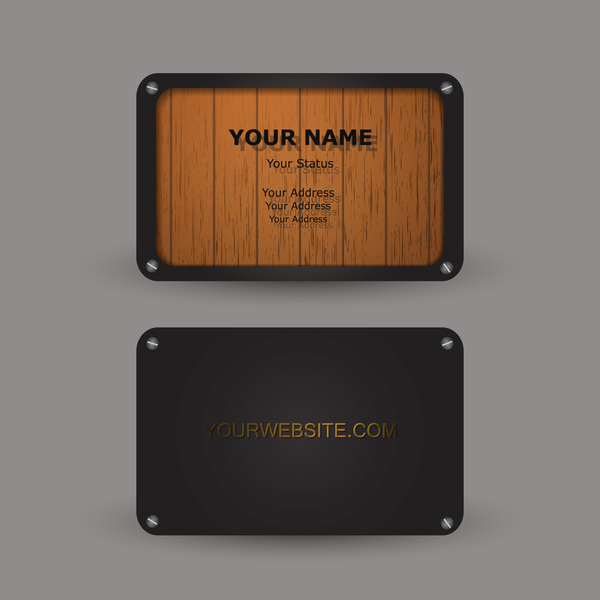Metal with wooden business card template vector 05