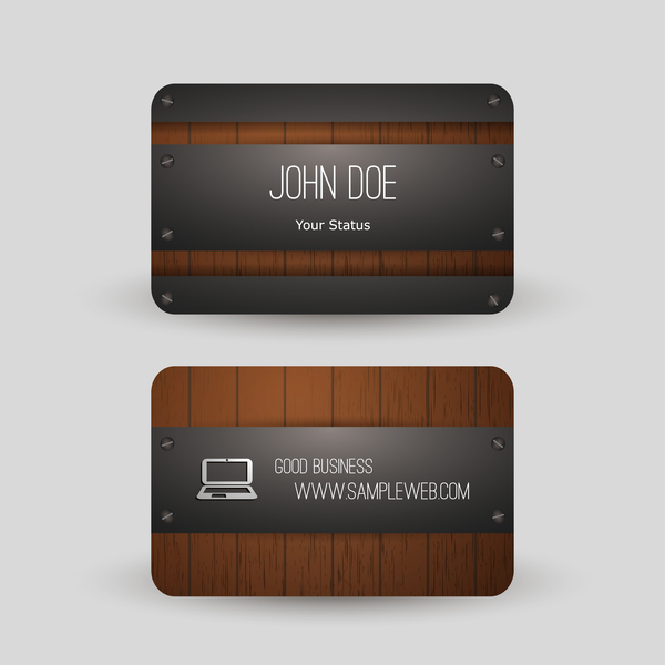 Metal with wooden business card template vector 06