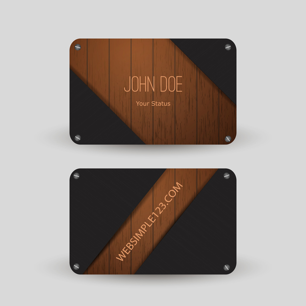 Metal with wooden business card template vector 07