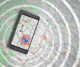 Mobile GPS positioning Stock Photo