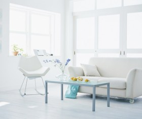 Modern concise bright white living room HD picture