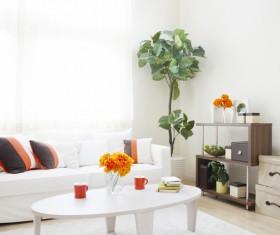 Modern white living room Stock Photo