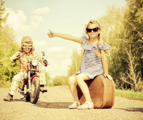 Motorbike boy with girl to ride HD picture