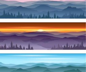 Mountains and forests landscape banners vector
