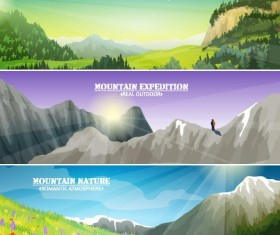 Mountains and nature landscape banners vector