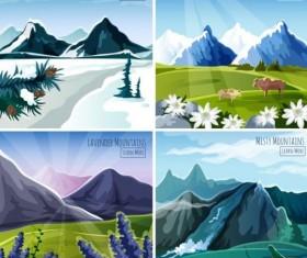 Mountatins four seasons landscapes vector