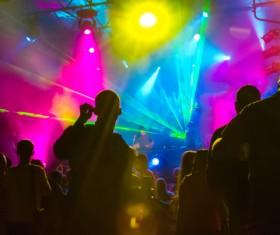 Music shine light and dancing people