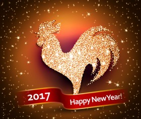 New year 2017 of rooster shiny vectors background