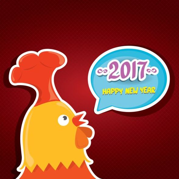 New year 2017 speech bubbles with funny rooster vector 04