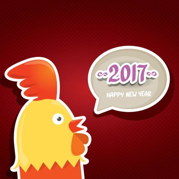 New year 2017 speech bubbles with funny rooster vector 05