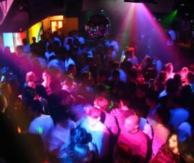 Nightclub The dark light of people dancing with music