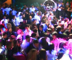 Nightclubs accompanied by music, dancing people