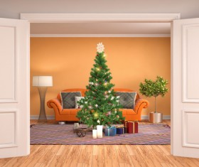 Orange background with sofa and Christmas tree HD picture