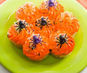 Orange spider cupcake for Halloween HD picture