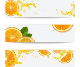 Oranges juice splashes banners vector